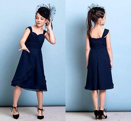 Wholesale Tea Lenght Black Dress - Navy Blue Formal Flower Girl Dresses Sheer Strap Chiffon Tea Lenght A-Line Baby Girl Pageant Dress Wedding Party Gowns For Kid Cheap ZYY