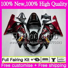 Wholesale Gsxr Black Yellow - Bodys For SUZUKI GSX-R600 GSXR 750 K1 GSXR750 01 02 03 23HT17 GSXR 600 01 03 GSX-R750 GSXR600 2001 2002 2003 Motorcycle Fairing Red flalmes