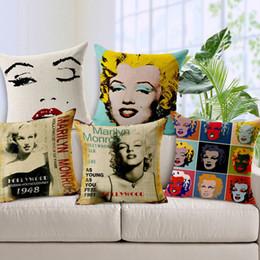 Wholesale Marilyn Monroe Cushion Covers - Cushion Cover Famous Hollywood Star Marilyn Monroe Pillow Cover Cotton Linen Square Pillowcase Classical Europe Retro Pillow Case