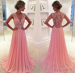 Wholesale Winter Outfits For Party - Arabic Pink A Line Prom Dresses Sheer Back V Neck Long Party Evening Gown For Girl Formal Outfit 2018