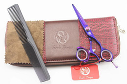 Wholesale Dragon Handle Scissors - Purple dragon Purple hair cutting scissors 360 degree Swivel Thumb handle 5.5 INCH 440C Barber scissors with scissors bag NEW