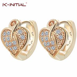 Wholesale Gold Earrings For Kids - Wholesale- Kinitial 1Pair Charming Gold Silver Heart Leaf Clover Micro Pave Leaves Hugging Small Hoop Earrings For Women Kids Girls Jewelry