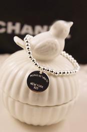 Wholesale Sterling Silver 925 Strand - 2016 Fashion New 8mm beaded 925 Sterling Silver Bracelets +Round Tag Lobster Bracelet