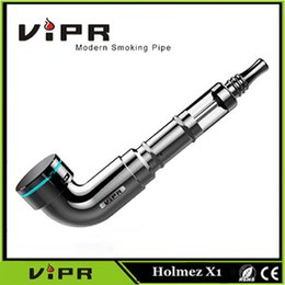 Wholesale Ecig Rebuildable Clearomizer - Original VIPR Holmez X1 Ecig Smoking Pipe Airflow Control Rebuildable Clearomizer Dual Coil E pipe Refly