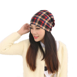 Wholesale Turbans Hats Scarves - Adult Hats Plaid Hats knit Caps Women Multi-function Turban hat scarf Free Shipping