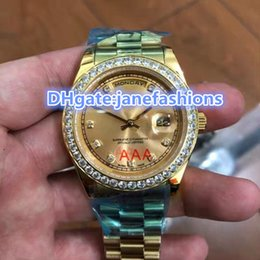 Wholesale Double Diamond Watches - Gold Stainless Steel Men's wristwatch diamond frame case double calendar Chronograph watches luxury diamond watches free shipping