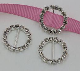 Wholesale invitations buckles - MIC 50pcs clear & gold Round Crystal Rhinestone Ribbon Slider Buckles Wedding Invitations 20mm   29mm   33mm
