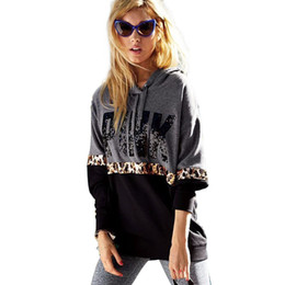 Wholesale Pink Cheetah - Wholesale Rare HTF Leopard Cheetah Print Hoodie Women PINK Clothing Letter No Bling Hoodie Pullover Jumper Hip Hop Gray Brand