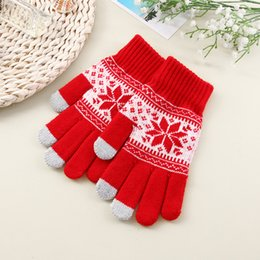 Wholesale Cartoon Screen - Capacitive Touch Screen Gloves Snowflake Knitted Unisex Winter Warm for Smart Phone Tablet iPhone 6S Samsung Christmas Gifts