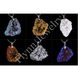 Wholesale Gems Rhinestones - Different Colorful Beautiful Crystal Geode Druzy Natural Gem Stone Pendant Accessories Charms European Fashion Jewelry 6X Mix Order