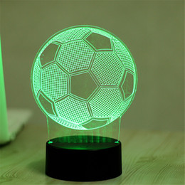 Wholesale Baby Lampe - Wholesale- 7 Color Soccer 3D Visual Led Night Lights for Kids Touch USB Table Lampara Lampe Baby Sleeping Nightlight