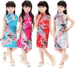 Wholesale Girls Chinese Silk Dresses - Chinese Dress Summer Skirt Chinese Dress Girls Elegant Peacock Printing and Short Sleeve Dress Kids Summer Mock Neck and Vintage halloween