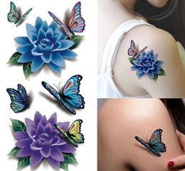 Wholesale Tattoo Designs Hand Butterfly - 6Pcs Lot New Colorful 3D Butterfly Tattoo Sticker Women Sexy Rose Flower Temporary Tattoo Designs Stickers Free Shipping