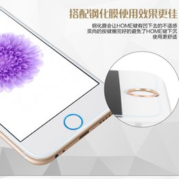 Wholesale Decorate Iphone - Wholesale-100Pcs Fingerprint induction touch ID Metal Button sticker For iphone 5S decorated real Aluminum button For 6 6 plus