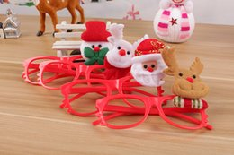 Wholesale Christmas Sunglasses Lights - DHL Christmas decoration kids glasses with LED light cute antlers santa elk shape plastic sunglasses for party Christmas children's gift