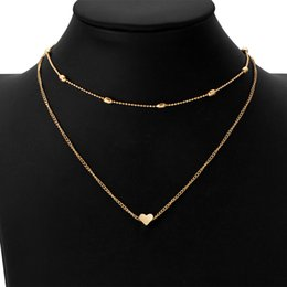 Wholesale Outlet Plate Double - Wholesale Fashion Heart multi-layer copper necklace factory outlet double pendant clavicle necklace Christmas gift Free Shipping 2 colors