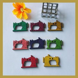 Wholesale Wholesale Bulk Buttons For Clothing - Free Shipping New 150pcs Bulk wood Button Multicolor Sewing Machine Shape Fastener for Clothing Decorative ornaments zmk-0113