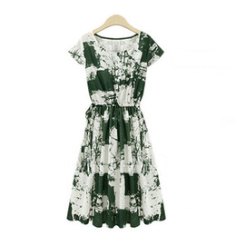 Wholesale Baggy Dress Styles - 2015 New Arrival Summer Style Women Fashion Printed Floral Baggy Tunic Dress Ladies Casual Knee-length Linen Vestidos Plus Size FG1511