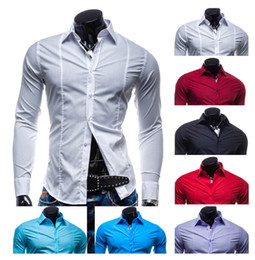 Wholesale Dress Shirts For Mens - NEW Men's shirt Men's Casual slim Long Sleeve Stree Fashion Candy color pure color Shirts Dress Shirts For Mens Business Shirts 15 Cx03