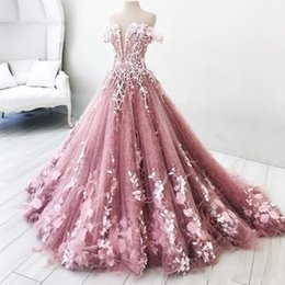 Wholesale Off Shoulder Gowns Dresses - Charming Off The Shoulder Prom Dresses 2018 Flora Appliques A Line Evening Gowns Sweep Train Saudi Arabic Formal Party Vestidos