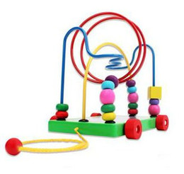 Wholesale Baby Trailers - Wholesale-free shipping,Trailer car animal round beads maze, educational baby toys