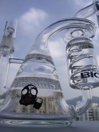 2019 borbulhador de vidro com filtro duplo Reciclador de vidro bong dab equipamento de tubos de água de 8.5 polegada favo de mel percolador borbulhador de vidro inebriante Da Tubulação frete grátis