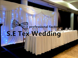 Wholesale Black Stage Curtains - White Color Wedding Backdrop Curtain \ Stage Background With String Led Lights