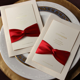 card personalized Promo Codes - Fashion Wedding Invitations Cards With Bow Personalized Invitations Free Shipping
