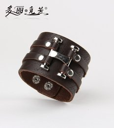 """Wholesale Leather Beaded Wrap Bracelets Wholesale - Wholesale-Hot Sell Brand Male Cuff Bangles Genuine Cowhide Leather """" H """" Wrap Wide Bracelets Wristband Bangles Cool Men Punk Rock"""