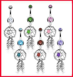 Wholesale Barbell Belly Button - New Arrival 316L Surgical Steel Crystal Gem Dream Catcher Belly Navel Barbell Bar Ring Body Jewelry Piercing