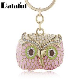 Wholesale Enamel Owl - beijia Chic Owl Enamel Crystal Metal Bag Pendant Key Holder Keyring Keychain For Car K176