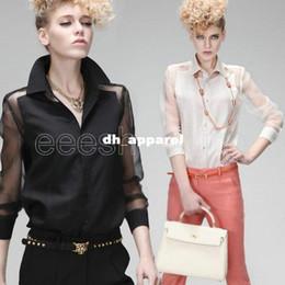 Wholesale Top Stylish Ladies Long Shirts - Q591 Fashion Women Ladies Girl Stylish Chiffon Long Sleeve Blouse Turn-Down Collar Sexy Transparent Sheer Black White Shirt Tops