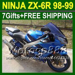 Wholesale Zx6r Factory Fairings - 7gifts For KAWASAKI ZX 600R 98 99 NINJA ZX6R ZX636 factory blue ZX-636 P6179 ZX-6R ZX 6R 636 1998 1999 98-99 blue black 98 99 ! Fairing