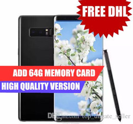 Wholesale Note Ram 2gb Rom 16gb - Touch ID Goophone note 8 goophone note8 6.3inch Edge Curved 4G Lte Octa Core 2G Ram 16G Rom Add 64G Card Shown 64G ROM Android 7.0 Dhl Free
