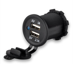 Wholesale Motorcycle 12 Usb - Waterproof USB Car Motorcycles Charger Adapter Socket 12-24V Outlet Power Car Marine Free Shipping