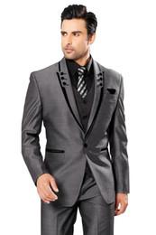 Wholesale Hot Men Wedding Suit - Men Suits Slim Fit Peaked Lapel Tuxedos Grey Wedding Suits For Men 2017 Hot Groomsmen Suits One Button Men 3 Piece Suit (Jacket+Pants+Vest)