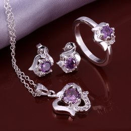 Wholesale African Amethyst Necklace - New Elegant 4 Colors 925 Sterling Silver Sapphire Ruby Amethyst Crystal Necklace Earrings Anklet Ring #8,Elegant Women's Wedding Jewelry set