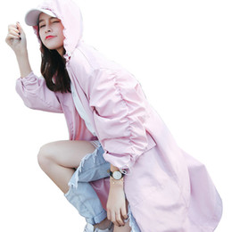 Wholesale Trench Coat For Women Pink - Spring Casual Pink White Trench Coat For Women Lantern Sleeve Loose Windbreaker Large Size Female Long Coat Casaco Feminino