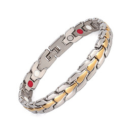 Wholesale Ions Jewelry - Fashion Men's Gold Silver Plated Bracelet Magnetic Bracelet(magnets,negative ions and FIR)Jewelry Bracelet For Sale OSB-900