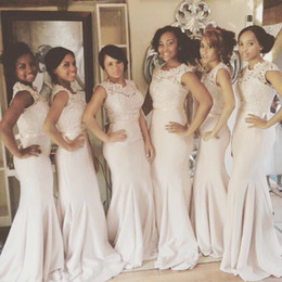 Wholesale Mermaid Bowknot Wedding Dresses - Latest Cheap Lace Mermaid Bridesmaid Dresses Simple Chiffon Plus Size Formal Wedding Party Dress with Bowknot for Women