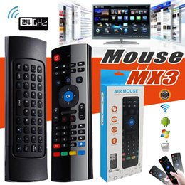 Wholesale Mouse Support - 2.4G Wireless Remote Controls MX3 Fly Air Mouse Multifunctional Infrared Keyboard For Android TV Box MXQ M8S Mini PC With Retail Package