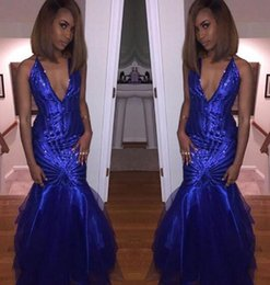 Wholesale Formal Tea Length Dresses Halter - Sexy Plunging V Neck Halter Sequined Prom Dresses 2017 Royal Blue Mermaid Tulle Long Backless Evening Gowns Cheap Sparkly Formal Party Wear