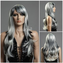 Wholesale Long Kanekalon - gray wigs long hair wigs for women wigs with bangs natural wigs Synthetic fiber of 100% Kanekalon 1pc Lot Free Shipping 0729ZL824-613