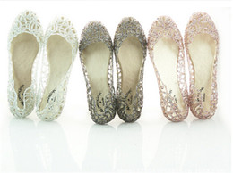 Wholesale Gold Sandals Flats - new arrive flat crystal jelly shoes melissa women cut-outs sandals flip flops 4 colour