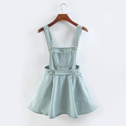 Wholesale Denim Braces - 2017 CUTE Vintage Sweet Preppy Style Womens takedown braces mini Denim Skirt Ladies Girls KAWII A-line Suspender Skirt