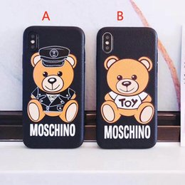 Wholesale Cute Silicone Phone Cases - Cute cartoon bear silicone phone case shell for iPhoneX 8 7 7plus all-inclusive TPU Anti-knock cover for iPhone6 6Splus