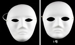 máscaras de rosto preço Desconto Preço de promoção Pintado À Mão Máscara de Pintura DIY Face Branca Pulp Hallowmas Máscara Do Partido rosto Cheio Das Mulheres Dos Homens máscara 50 pçs / lote