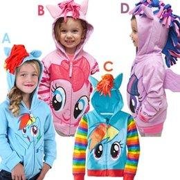 Wholesale Girls Wing Jacket - Baby Girls My little pony Angel wings Children long sleeve cartoon fleece cotton zipper hooded Outwear Sweatshirt Children's jacket hoodies