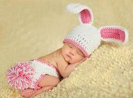 Wholesale Rabbit Hat Costume - Cute Baby Beanie Sets Rabbit Photography Props Children's Crochet Cotton Infant Costume Outfits DEG1*1