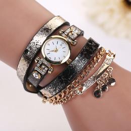Wholesale Leopard Print Pendants - Fashion Long Leather leopard print Strap Punk Style Women Bracelet Watch sheetmetal Pendant Retro Casual Quartz Analog dress watches